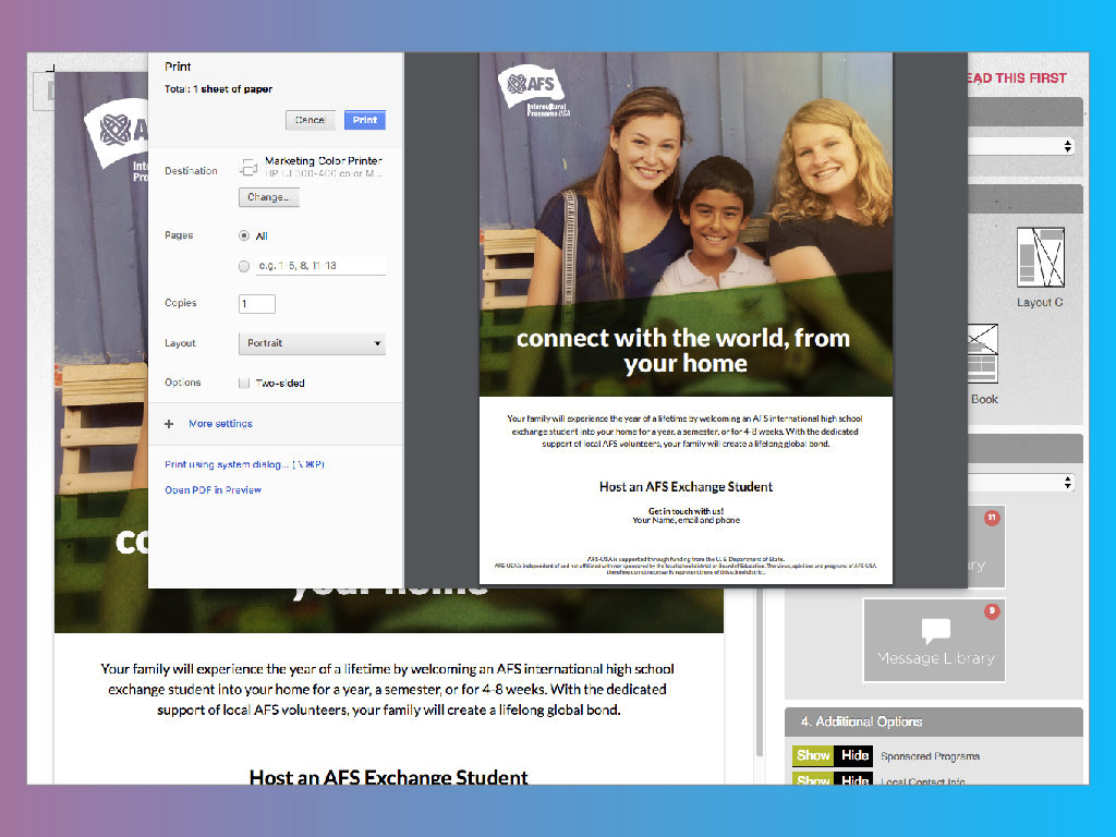 Design Shop screen grab - Print view