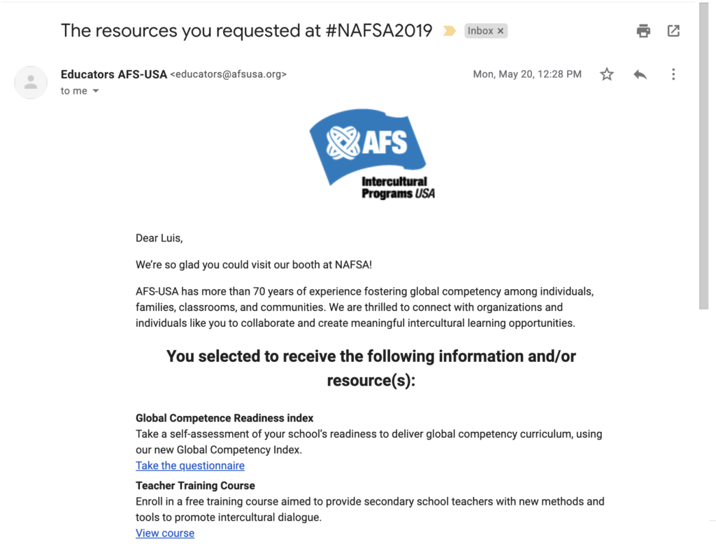 Auto email from NAFSA Microsite